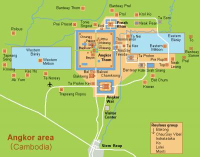 Карта храмового комплекса Ангкор-Ват, провинция Сиемриап, Камбоджа