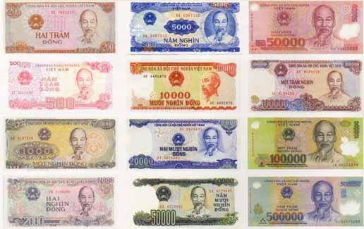 Таблица с курсом вьетнамских донгов относительно долларов и рублей